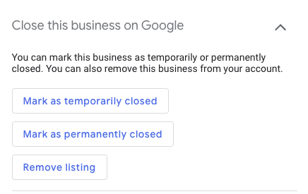 Google My Business - Close this business page